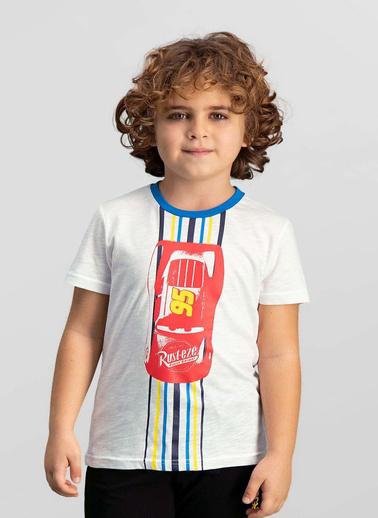 Cars Cars Lisanslı Lacivert Erkek Çocuk T-Shirt Krem